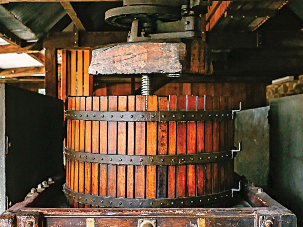 Photo: Lean Timms An old basket press at Rockford Wines - Barossa, Autstalia